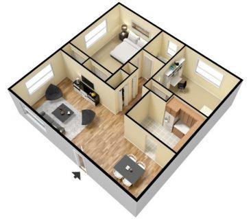 1 Bedroom 1 Bath - Furnished. 692 sq. ft.