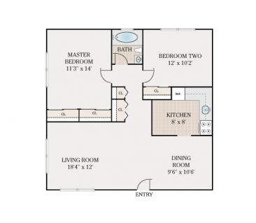 2 Bedroom 1 Bath. 912 sq. ft.