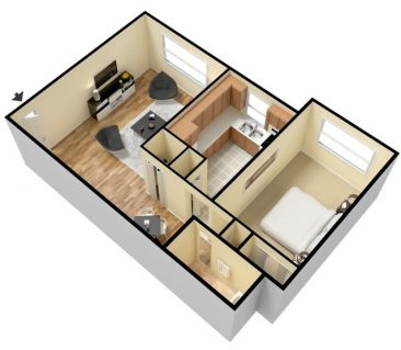 2 Bedroom 1 Bath - Furnished. 912 sq. ft.