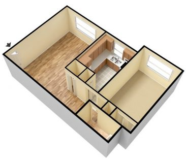 2 Bedroom 1 Bath - Unfurnished. 912 sq. ft.
